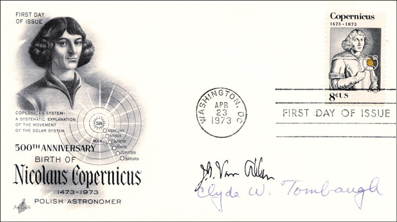 Image 1 for Clyde William Tombaugh - First Day Cover Signed co-signed by: James A. Van Allen - HFSID 13004