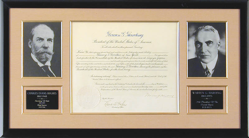 Image 1 for President Warren G. Harding - Diplomatic Appointment Signed 10/20/1921 co-signed by: Chief Justice Charles E Hughes - HFSID 13014