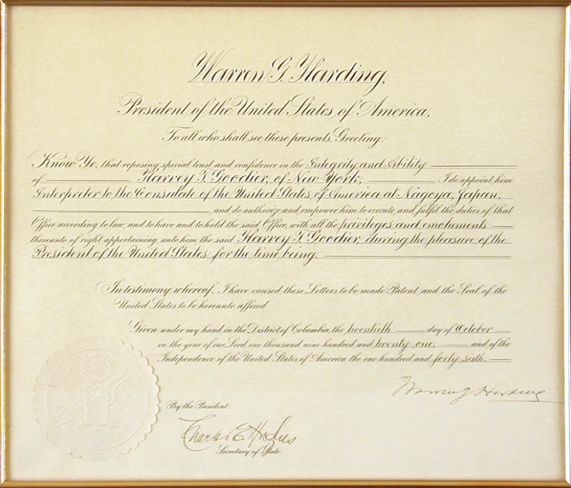 Image 3 for President Warren G. Harding - Diplomatic Appointment Signed 10/20/1921 co-signed by: Chief Justice Charles E Hughes - HFSID 13014