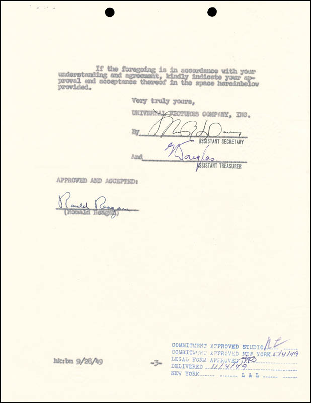 Image 1 for President Ronald Reagan - Contract Signed 10/26/1949 - HFSID 13080