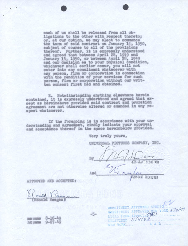 Image 1 for President Ronald Reagan - Contract Signed 10/26/1949 - HFSID 13081