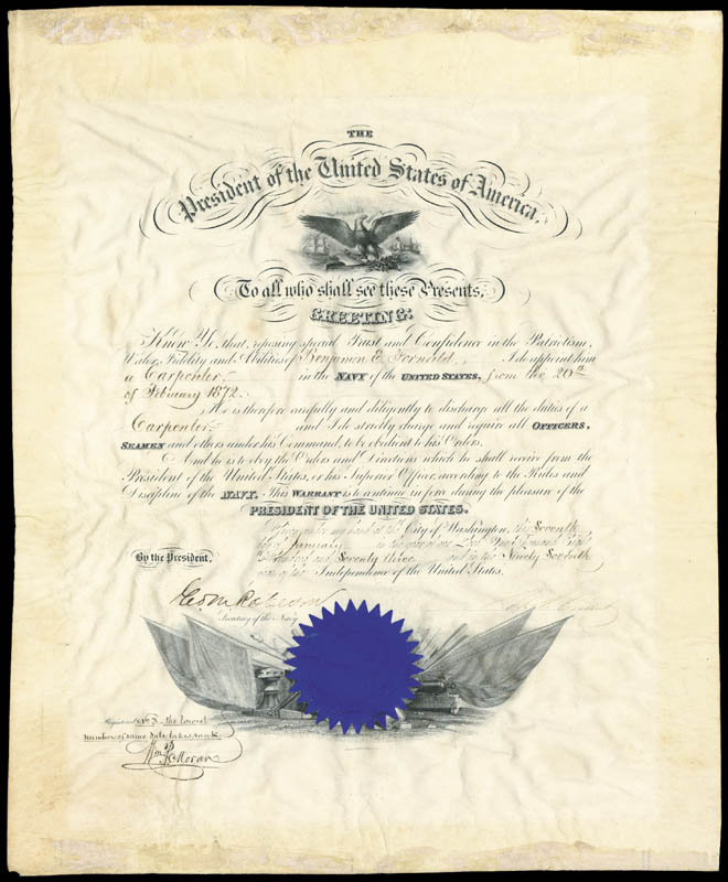 Image 3 for President Ulysses S. Grant - Naval Appointment Signed 01/07/1873 co-signed by: George M. Robeson - HFSID 13088