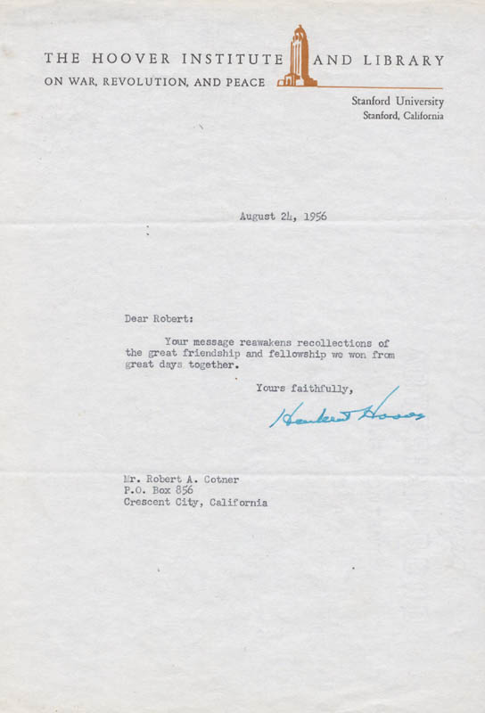 Image 1 for President Herbert Hoover - Typed Letter Signed 08/24/1956 - HFSID 13146