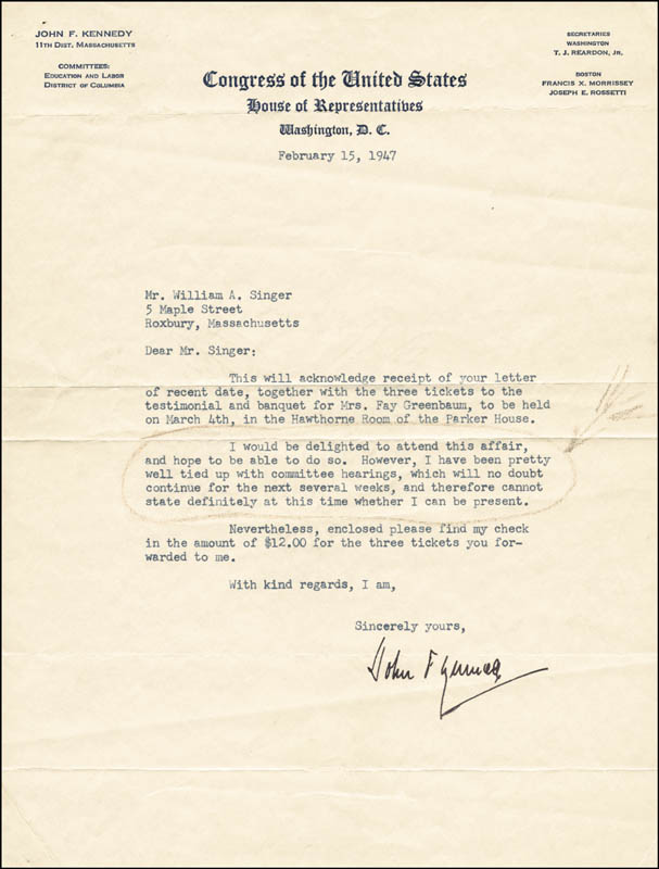 Image 1 for President John F. Kennedy - Typed Letter Signed 02/15/1947 - HFSID 13162