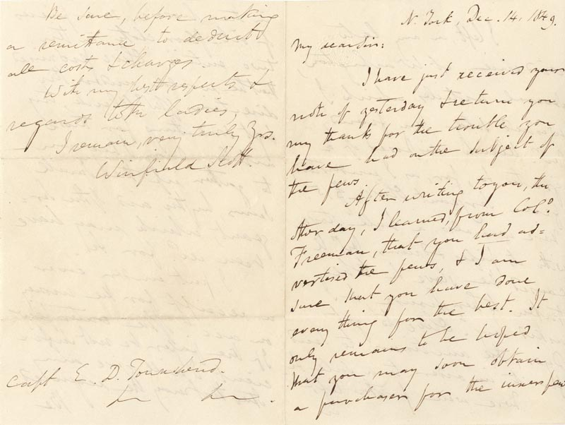 Image 1 for Lt. General Winfield Scott - Autograph Letter Signed 12/14/1849 - HFSID 131638