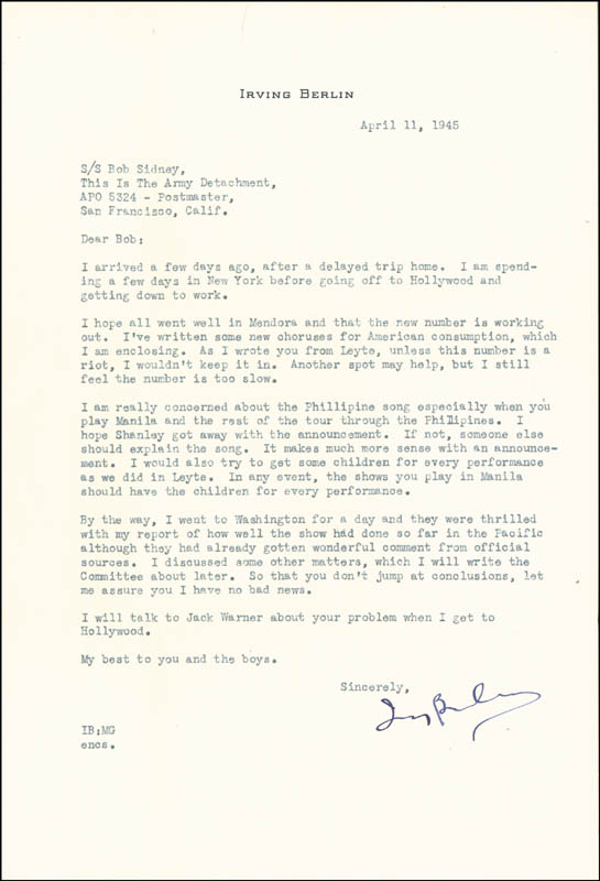 Image 1 for Irving Berlin - Typed Letter Signed 04/11/1945 - HFSID 132011