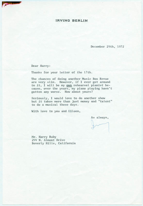 Image 1 for Irving Berlin - Typed Letter Signed 12/29/1972 - HFSID 132012
