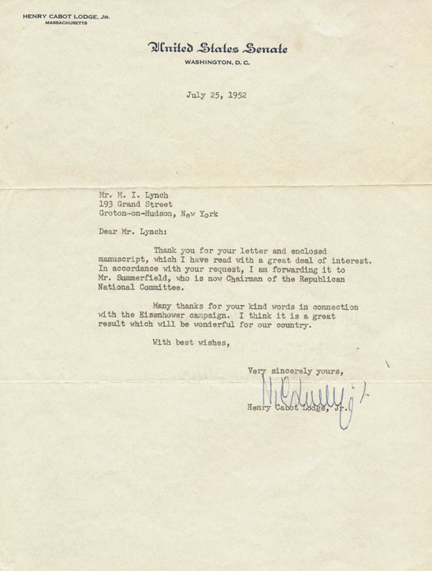 Image 1 for Henry Cabot Lodge Jr. - Typed Letter Signed 07/25/1952 - HFSID 1333