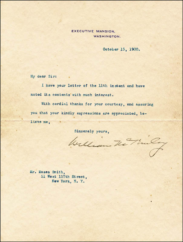 Image 1 for President William Mckinley - Typed Letter Signed 10/15/1900 - HFSID 13441