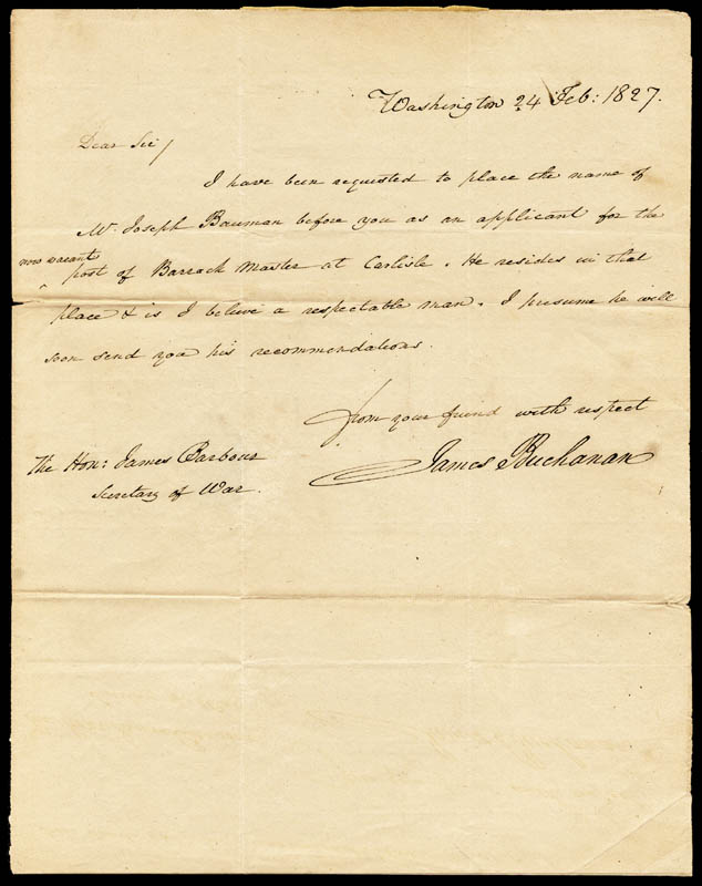 Image 1 for President James Buchanan - Autograph Letter Signed 02/24/1827 - HFSID 13453