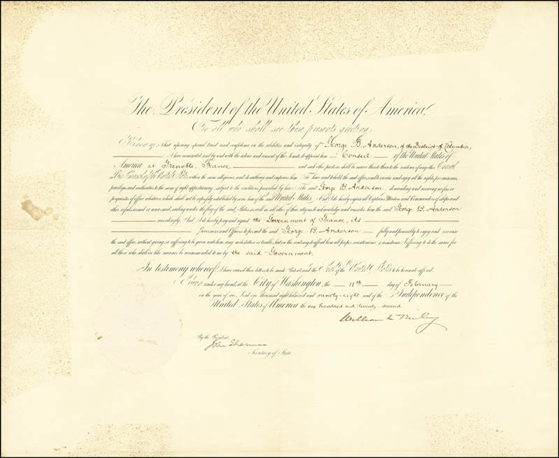 Image 3 for President William Mckinley - Diplomatic Appointment Signed 02/11/1898 co-signed by: John Sherman - HFSID 13476