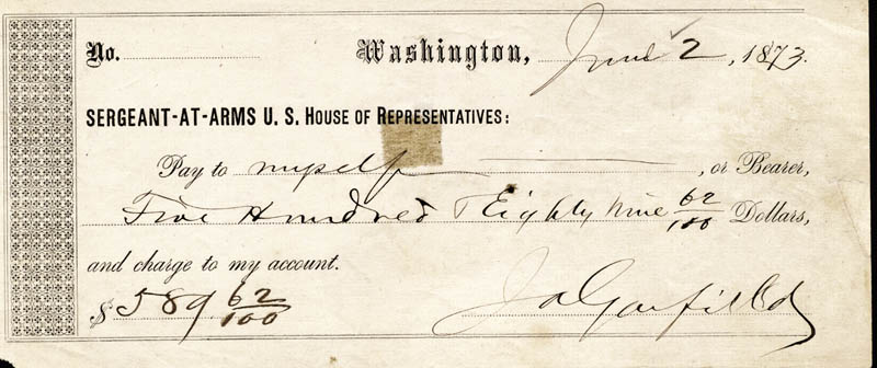 Image 1 for President James A. Garfield - Autographed Signed Check 06/02/1873 - HFSID 13479