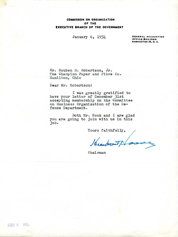 Image 1 for President Herbert Hoover - Typed Letter Signed 01/06/1954 - HFSID 13514