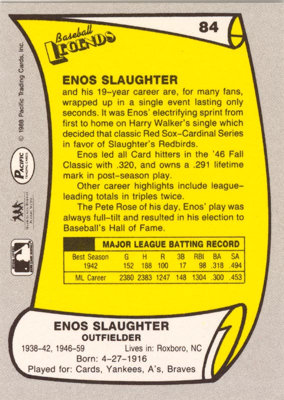 Image 3 for Enos Slaughter - Trading/Sports Card Signed - HFSID 135254