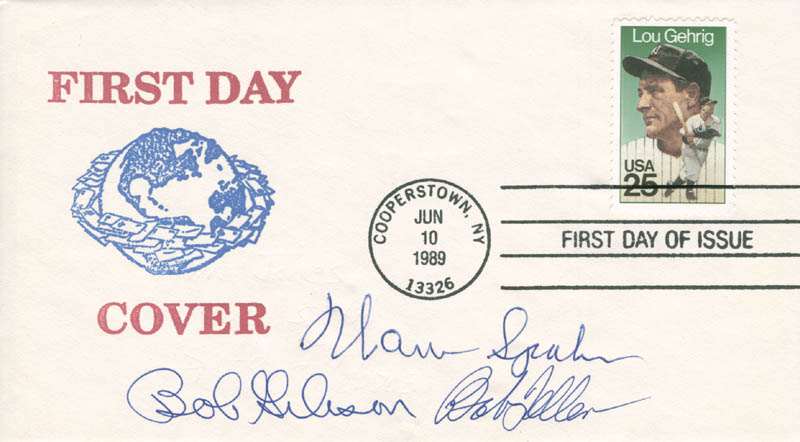Image 1 for Warren Spahn - First Day Cover Signed co-signed by: Bob Gibson, Bob Feller - HFSID 135293