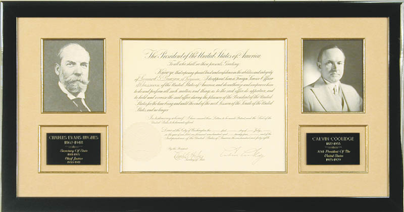 Image 1 for President Calvin Coolidge - Diplomatic Appointment Signed 07/01/1924 co-signed by: Chief Justice Charles E Hughes - HFSID 13542