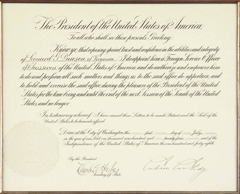 Image 3 for President Calvin Coolidge - Diplomatic Appointment Signed 07/01/1924 co-signed by: Chief Justice Charles E Hughes - HFSID 13542