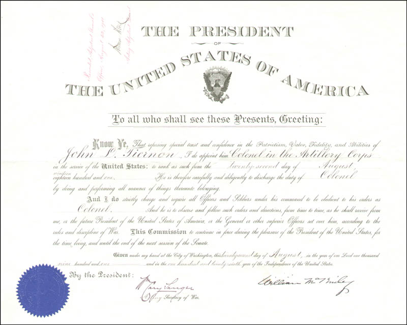 Image 1 for President William Mckinley - Military Appointment Signed 08/22/1901 co-signed by: William Cary Sanger, Artemas Ward - HFSID 13559