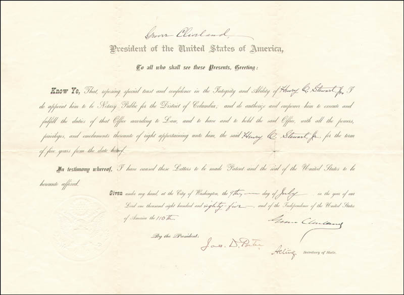 Image 1 for President Grover Cleveland - Civil Appointment Signed 07/09/1885 co-signed by: James M. Porter - HFSID 13563