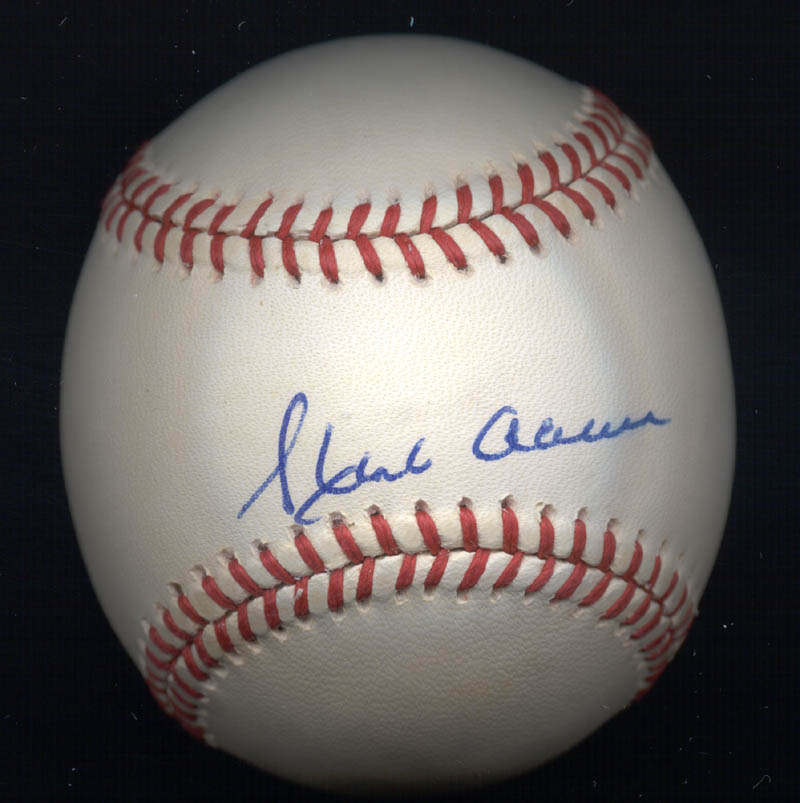Image 1 for Hank Aaron - Autographed Signed Baseball co-signed by: Eddie Mathews - HFSID 135898