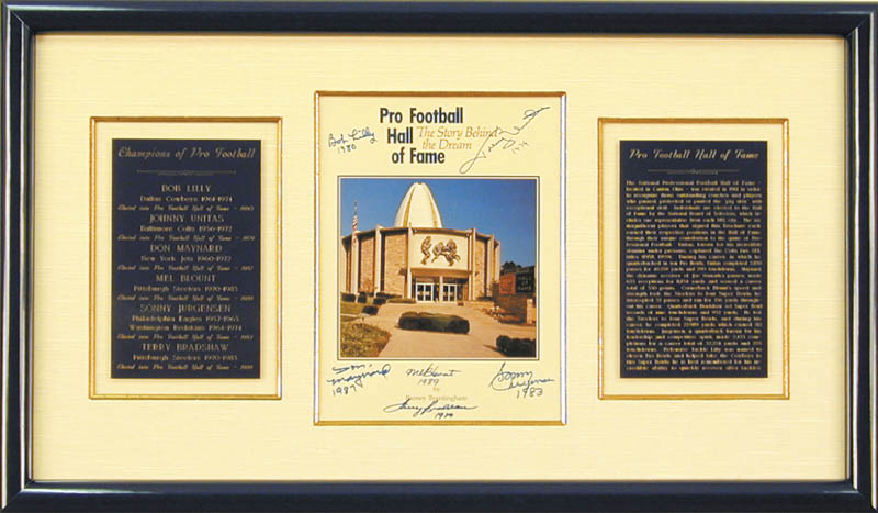 Image 1 for Hall Of Fame Football - Program Cover Signed co-signed by: Sonny Jurgensen, Terry Bradshaw, Johnny Unitas, Mel Blount, Don Maynard - HFSID 136410