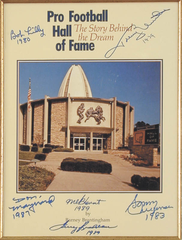 Image 3 for Hall Of Fame Football - Program Cover Signed co-signed by: Sonny Jurgensen, Terry Bradshaw, Johnny Unitas, Mel Blount, Don Maynard - HFSID 136410