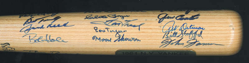 Image 4 for The 1961 New York Yankees - Baseball Bat Signed Circa 1990 with co-signers - HFSID 136433