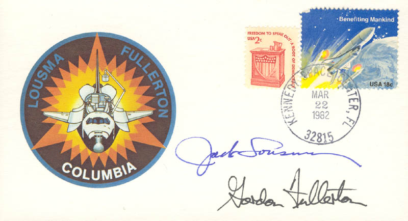 Image 1 for Colonel Jack Lousma - Commemorative Envelope Signed co-signed by: Colonel C. Gordon Fullerton - HFSID 136701