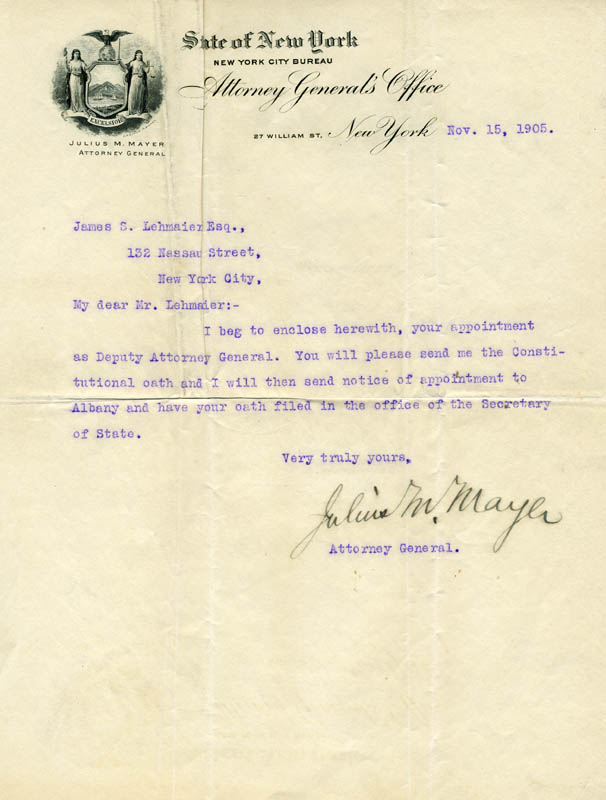 Image 1 for Julius M. Mayer - Typed Letter Signed 11/15/1905 - HFSID 13755