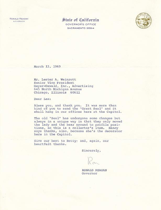 Image 1 for President Ronald Reagan - Typed Letter Signed 03/13/1969 - HFSID 13865