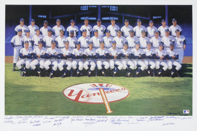 Image 1 for The 1961 New York Yankees - Printed Art Signed In Ink Circa 1990 with co-signers - HFSID 138683