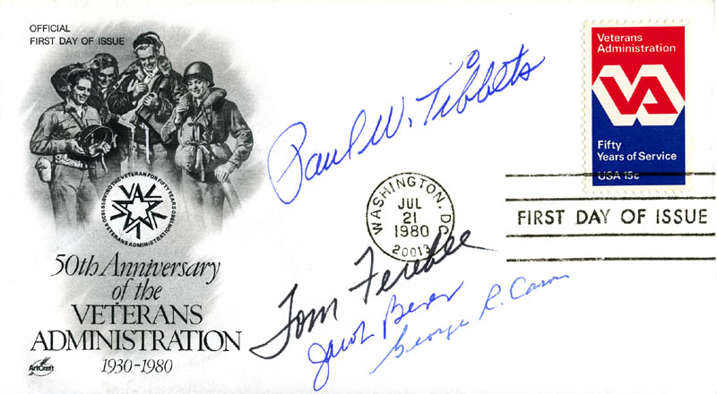 Image 1 for Enola Gay Crew - First Day Cover Signed with co-signers - HFSID 140168