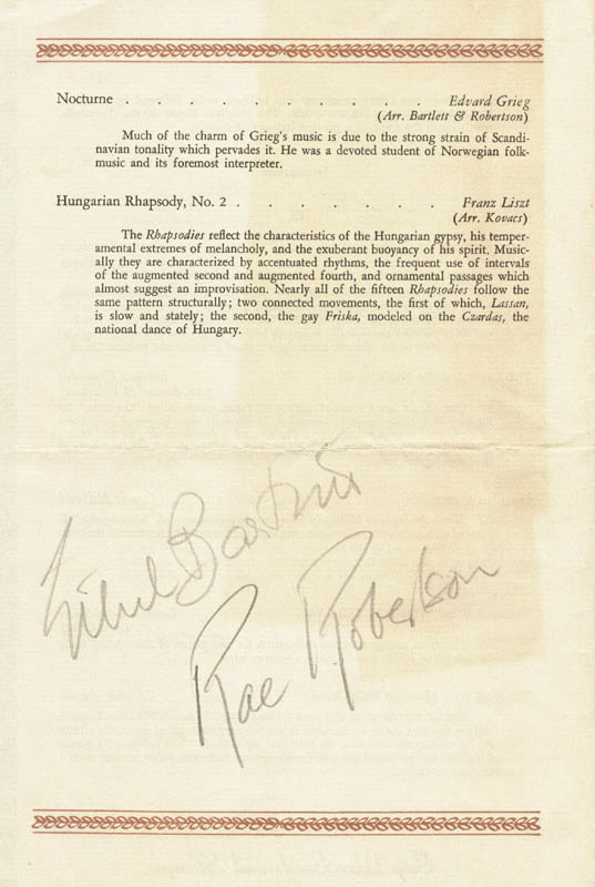 Image 1 for Ethel Bartlett - Program Signed co-signed by: Rae Robertson - HFSID 140186