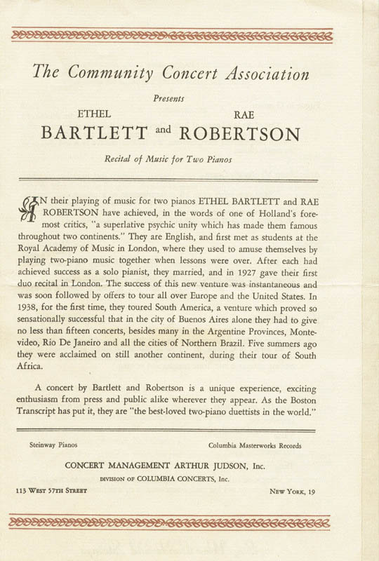 Image 3 for Ethel Bartlett - Program Signed co-signed by: Rae Robertson - HFSID 140186