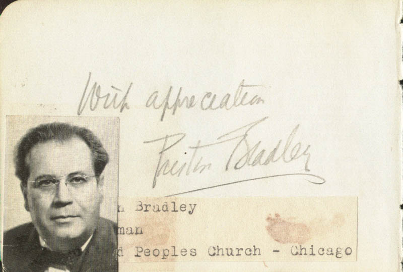 Image 1 for Preston Bradley - Autograph Sentiment Signed Circa 1940 co-signed by: Ambrose J. Wyrick - HFSID 140282