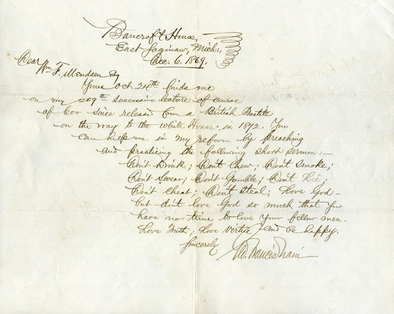 Image 1 for George Francis Train - Autograph Letter Signed 12/06/1869 - HFSID 14097
