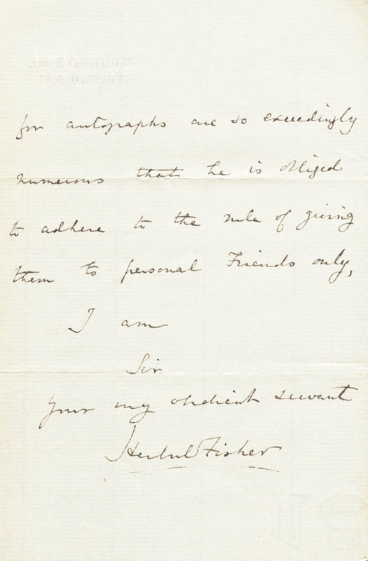 Image 1 for Herbert William Fisher - Autograph Letter Signed 12/27/1869 - HFSID 14120