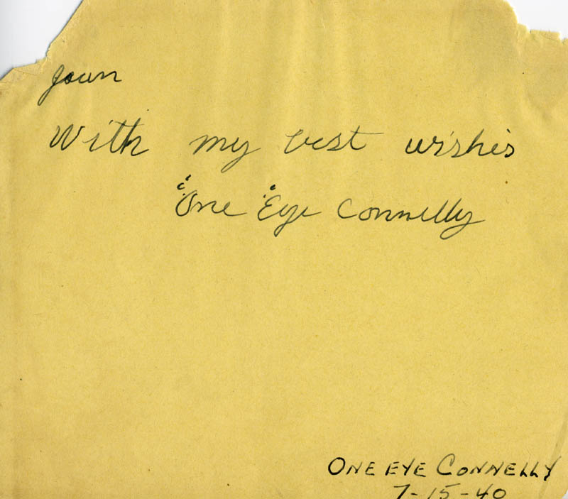 Image 1 for James Leo 'One Eye' Connelly - Autograph Note Signed - HFSID 141841