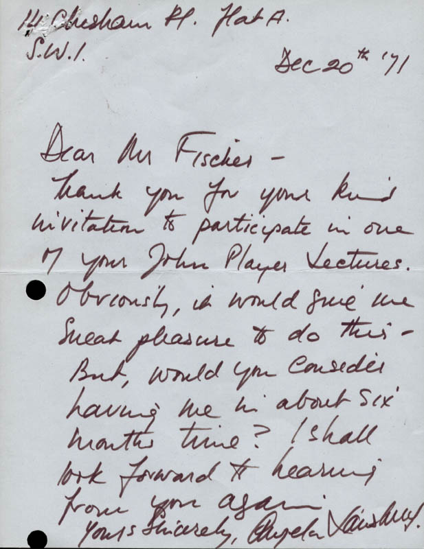 Image 1 for Angela Lansbury - Autograph Letter Signed 12/20/1971 - HFSID 142078