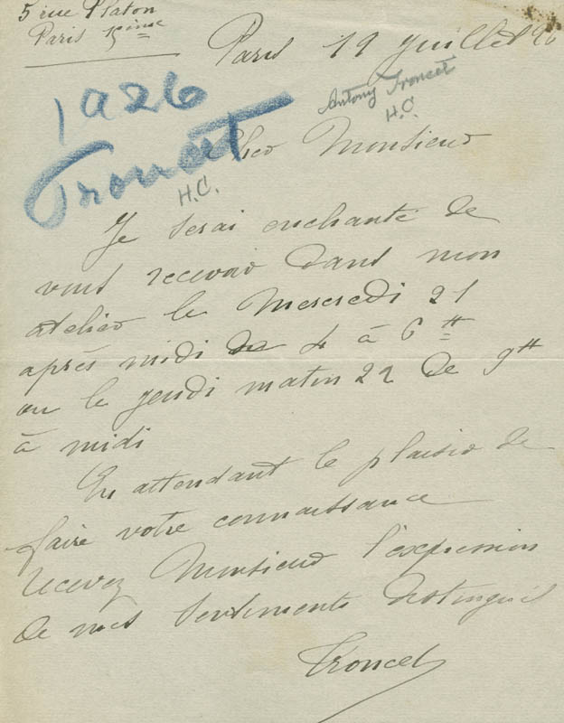 Image 1 for Antony Troncet - Autograph Letter Signed 07/19/1896 - HFSID 142562