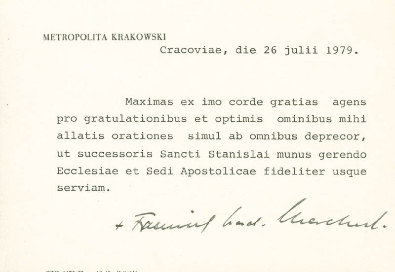 Image 1 for Franciszek Cardinal Macharski - Typed Note Signed 07/26/1979 - HFSID 142677