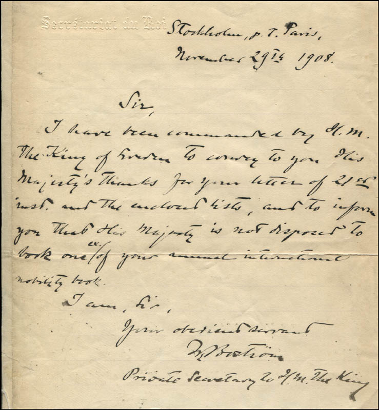Image 1 for Wollmar Bostrom - Autograph Letter Signed 11/29/1908 - HFSID 142688