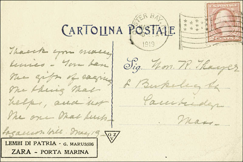 Image 1 for First Lady Edith K. Roosevelt - Autograph Post Card Unsigned 05/21/1919 - HFSID 142695