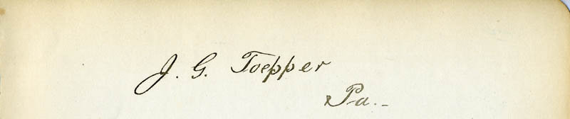 Image 1 for J. G. Toepper - Autograph - HFSID 142932
