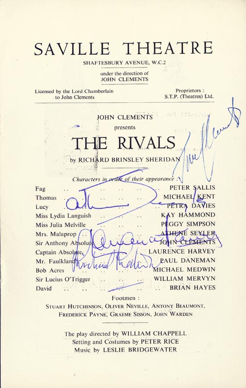 Image 1 for The Rivals Play Cast - Show Bill Signed co-signed by: John Clements, Athene Seyler, Michael Medwin, Laurence Harvey - HFSID 142981