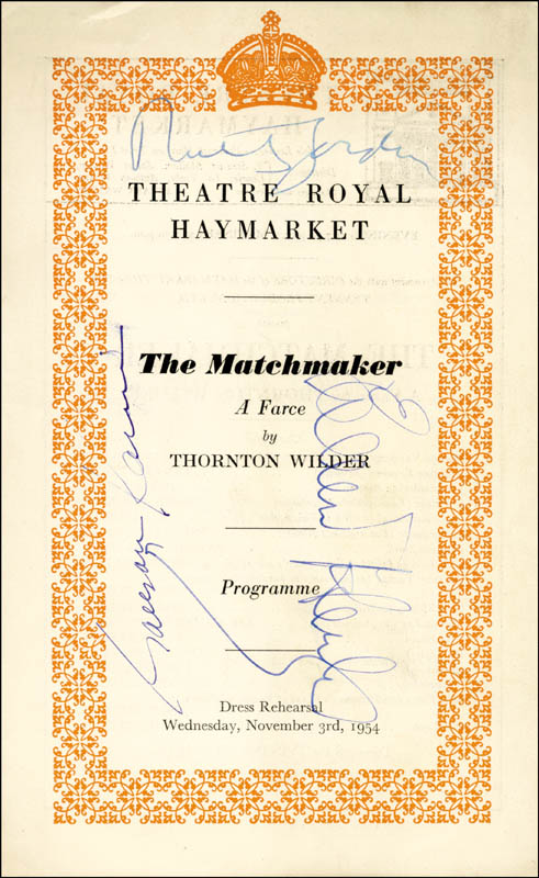 Image 1 for The Matchmaker Play Cast - Show Bill Signed co-signed by: Eileen Herlie, Garson Kanin, Ruth Gordon - HFSID 142988