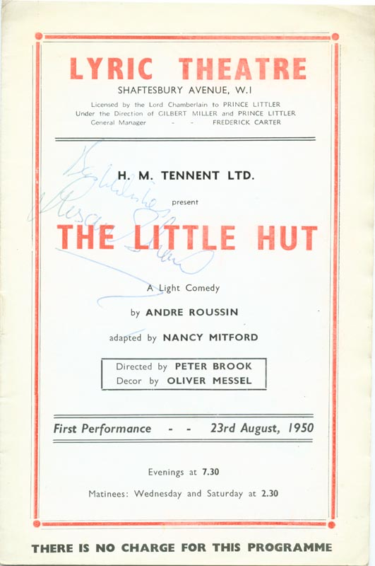 Image 1 for Little Hut Play Cast, The - Show Bill Signed Circa 1950 co-signed by: Susan Shaw, Geoffrey Toone - HFSID 142990