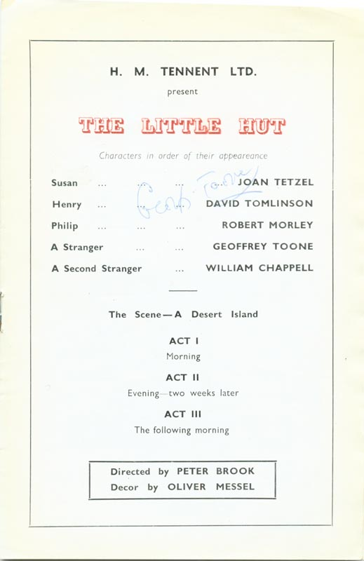 Image 3 for Little Hut Play Cast, The - Show Bill Signed Circa 1950 co-signed by: Susan Shaw, Geoffrey Toone - HFSID 142990