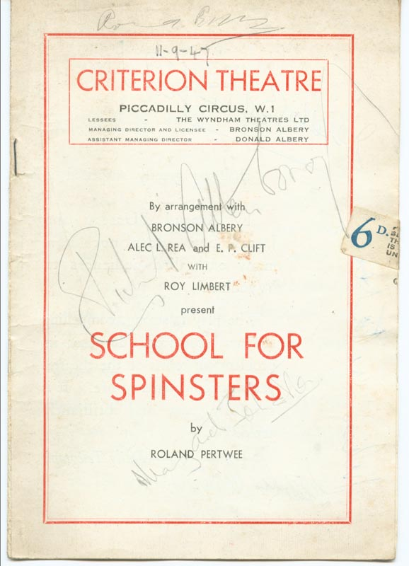 Image 1 for School For Spinsters Play Cast - Show Bill Signed Circa 1947 with co-signers - HFSID 142995
