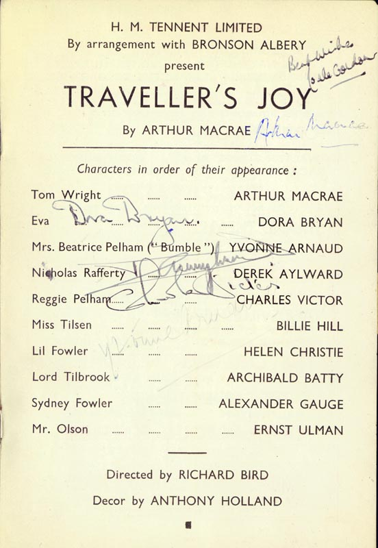 Image 1 for Traveller'S Joy Play Cast - Show Bill Signed with co-signers - HFSID 142996